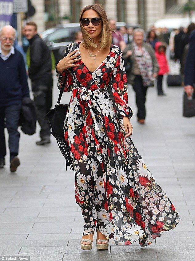 61bd8e6744 Flower power: Fresh from her latest holiday, Myleene Klass tried to  recreate warmer climes in central London on Friday, where she was spotted  cutting a ...