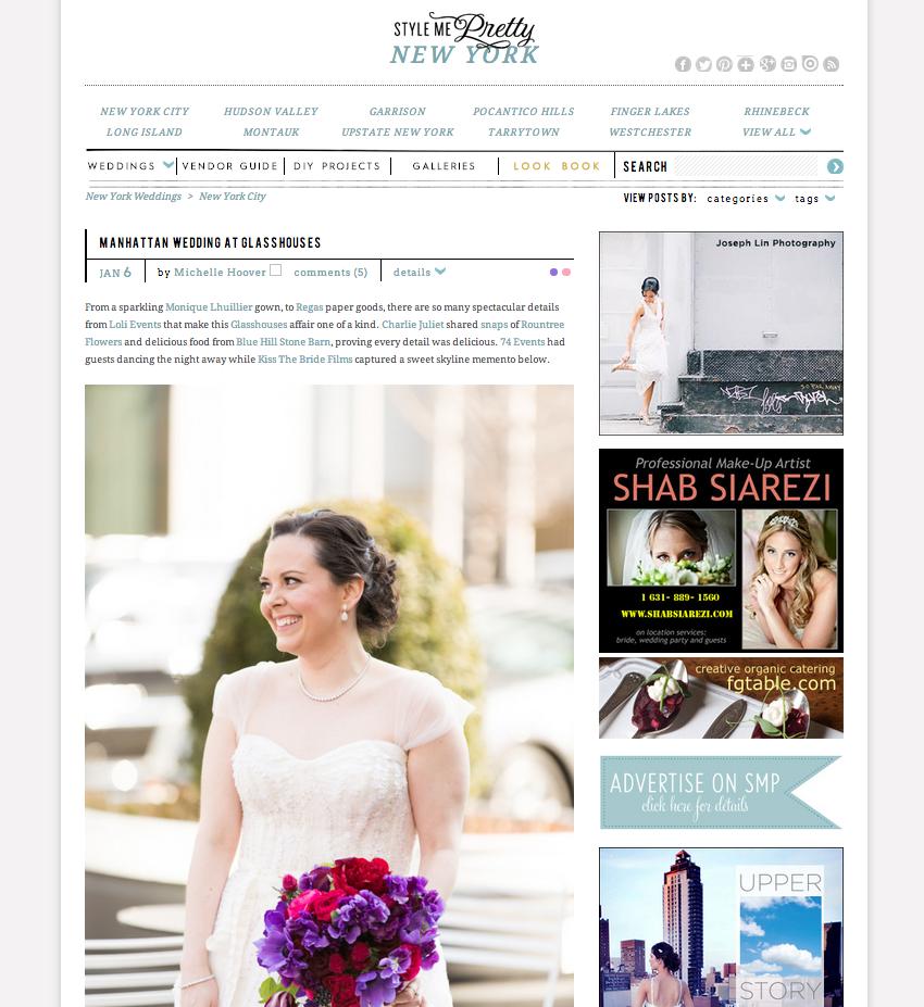 Style Me Pretty, Glasshouses Wedding ©Charlie Juliet Photography  http://www.stylemepretty.com/new-york-weddings/new-york-city/2015/01/06/manhattan-wedding-at-glasshouses/