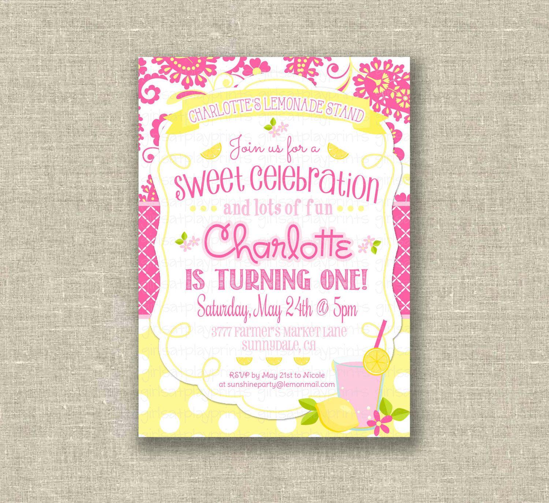 Sweet Lemonade 1st First Birthday Girl Invitation by girlsatplay ...