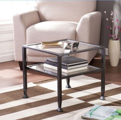 Transitional Cocktail Table With Two Fixed Shelves Tempered Glass Home Furniture