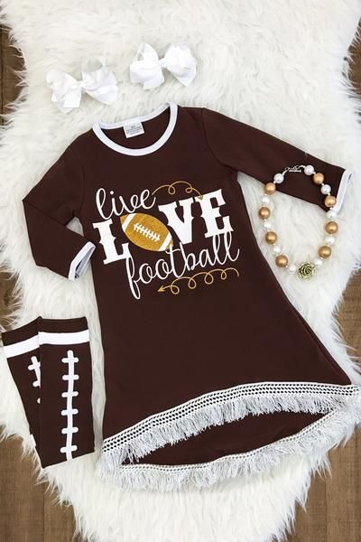 """""""Live, Love Football"""" Hi-Low Fringe Dress"""