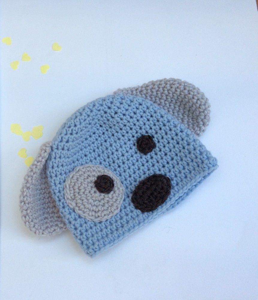 Cappello in lana merino a forma di cagnolino con orecchie occhi e ...