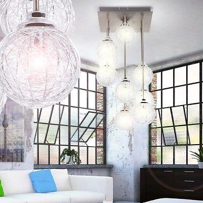 Design Luster Wohnzimmer Decken Lampe Kugel Pendel Leuchte Silber  Beleuchtung G9