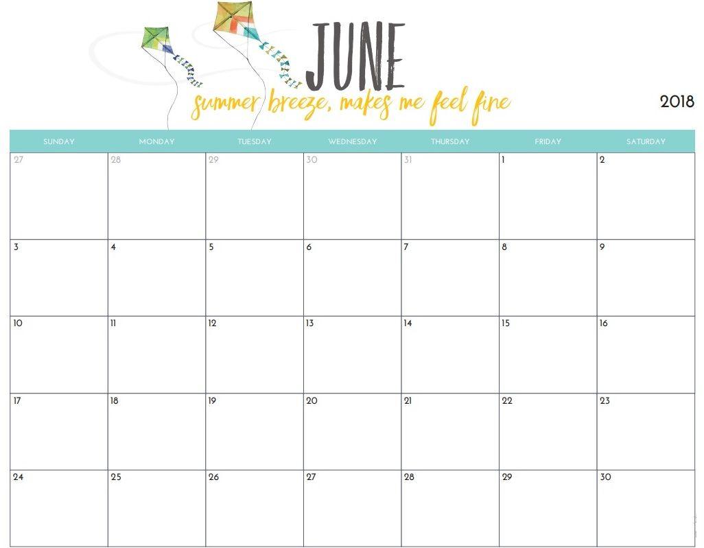 Free June 2018 Desk Calendar For Office