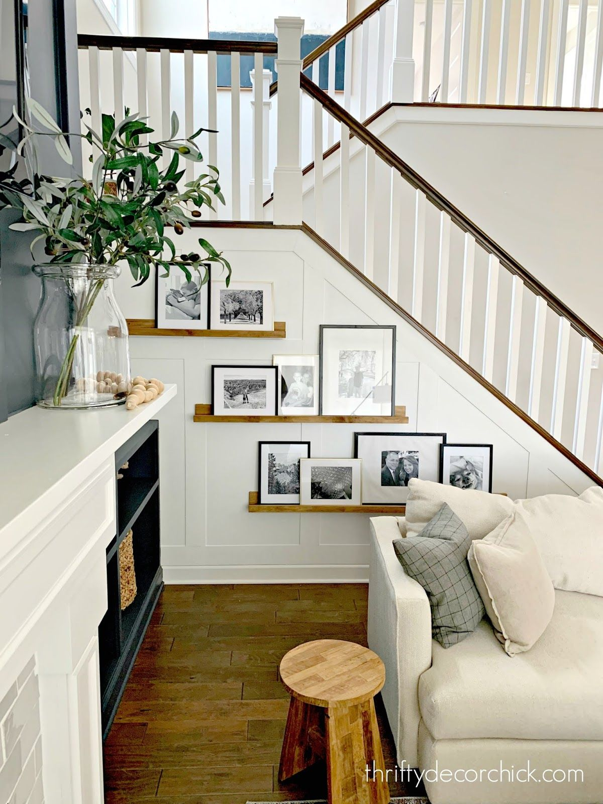 Finished Board And Batten Accent Stairway Wall Stair Decor Stairway Walls Staircase Decor