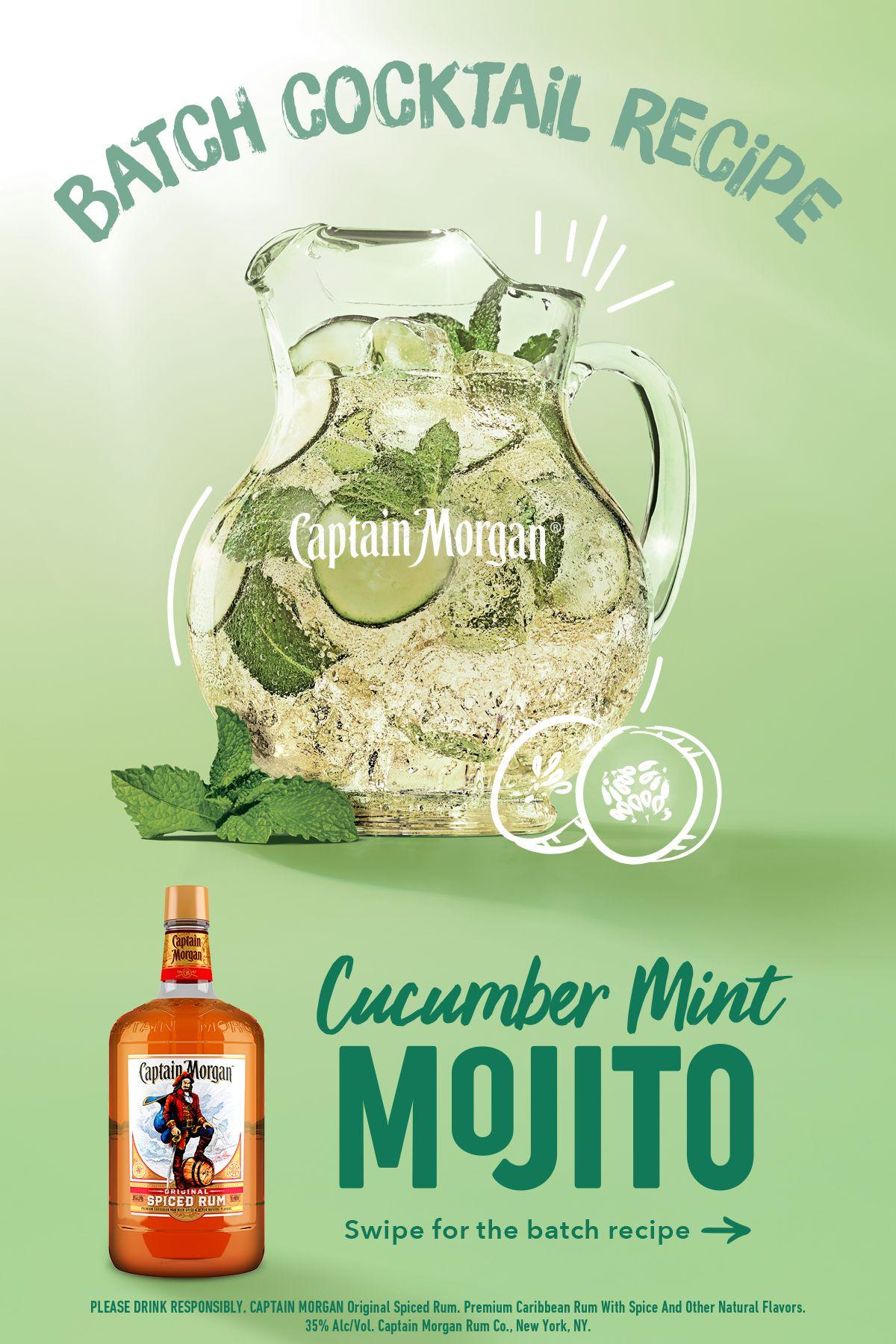 Xl Captain Morgan Cucumber Mint Mojito Batch Coctail Recipe Mojito Mojito Recipe Batch Cocktail Recipe