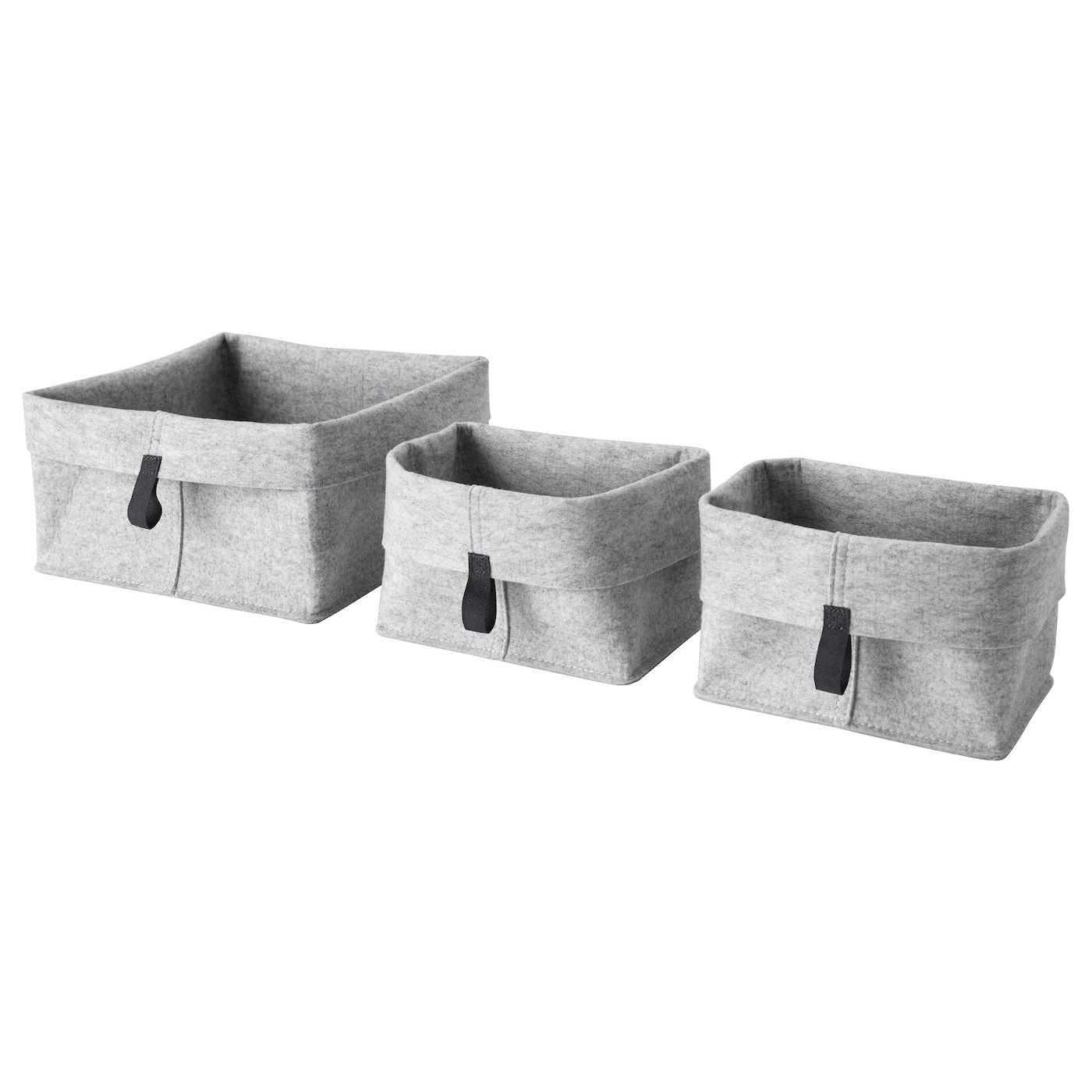 Raggisar Corbeille Lot De 3 Gris Panier Rangement Ikea