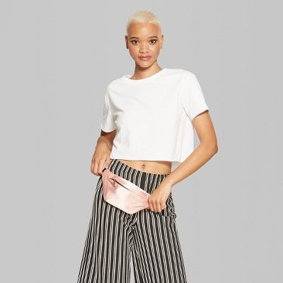 a3d11579df Women's Short Sleeve Boxy Cropped T-Shirt - Wild Fable White Xxl ...