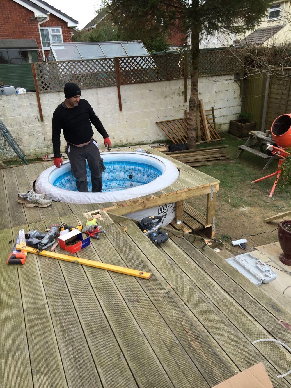 Starting To Take Shape Hot Tub Garden Hot Tub Gazebo Hot Tub Deck