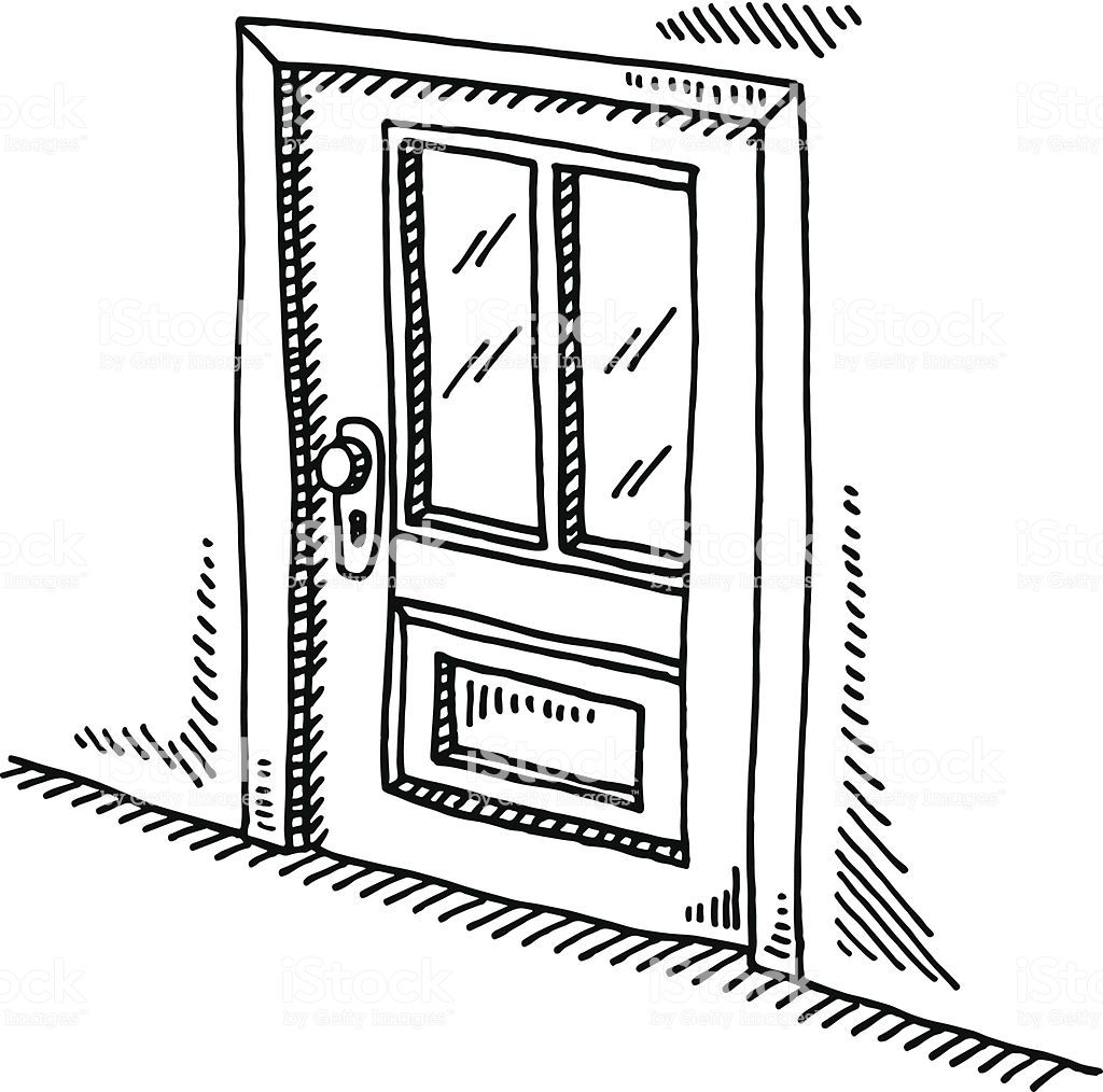 Hand Drawn Vector Drawing Of A Closed Door Black And White Sketch On Vector Drawing Hand Drawn Vector How To Draw Hands