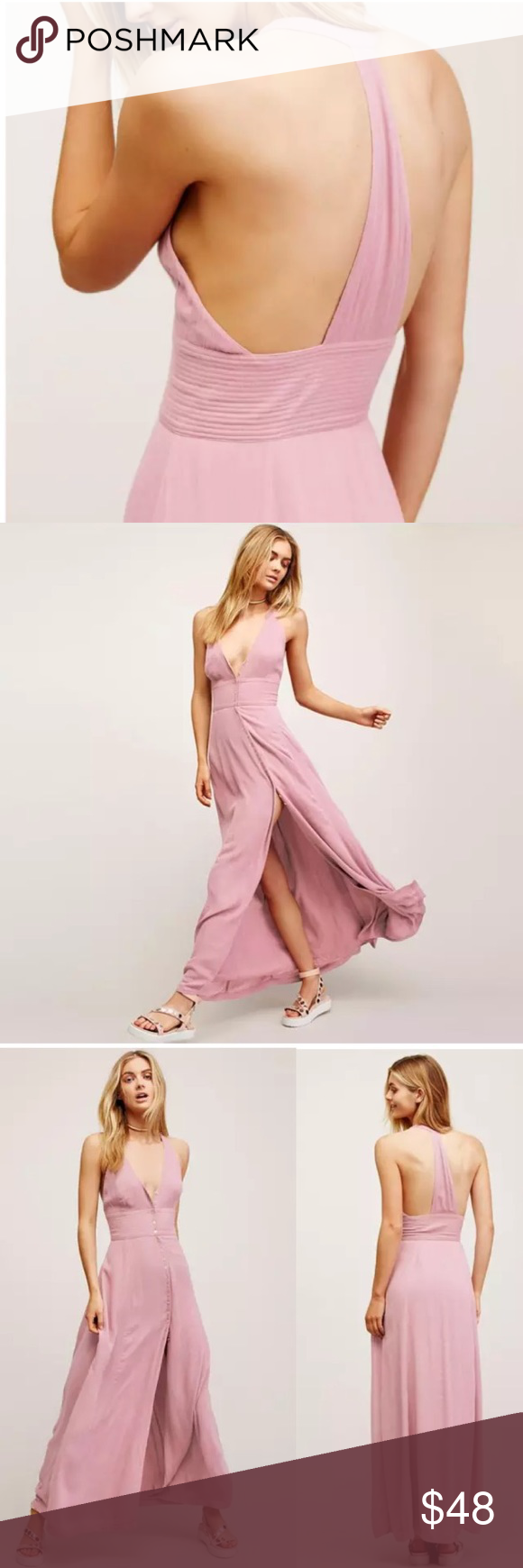 Tback all about it maxi dress pink linen button boutique free