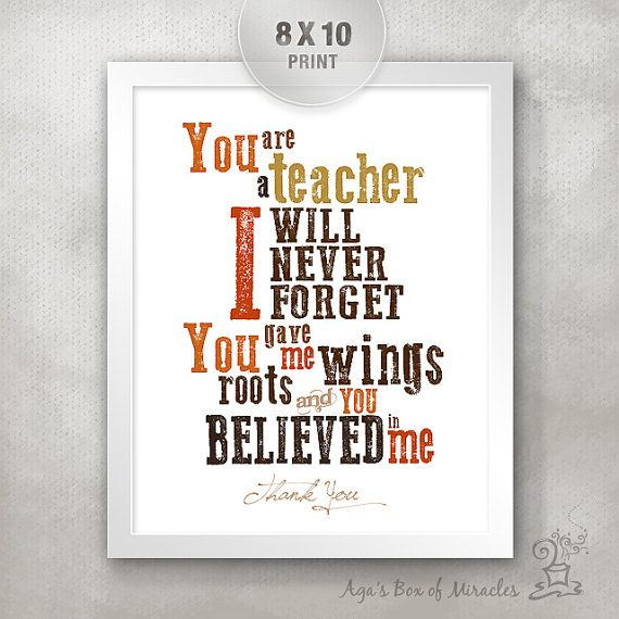 Thank You Quotes For Giving Gifts: 8x10 Personalized Teacher Appreciation Gift Idea / Teacher