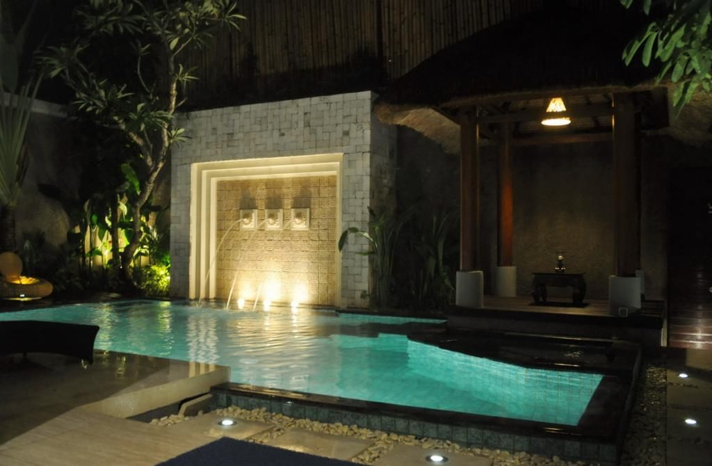 Small Balinese Gazebo Design With Chandelier In Small Pool With Waterfall  Futuristic And Modern Gazebo Design In Minimalist Home Garden Design, Home  ...