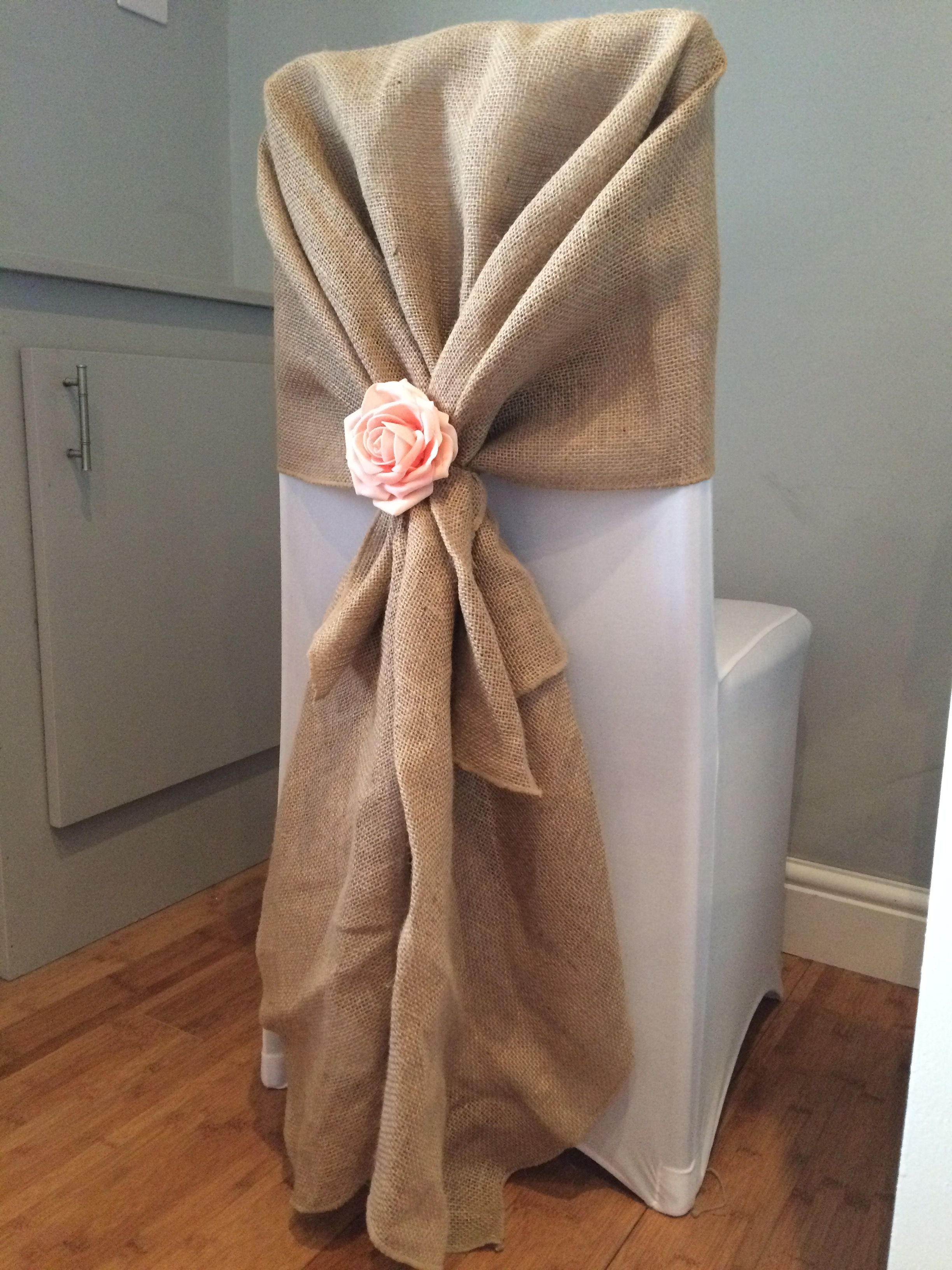 chair covers for hire south wales pink egg cover with hessian hood and rose accessory from affinity event decorators in