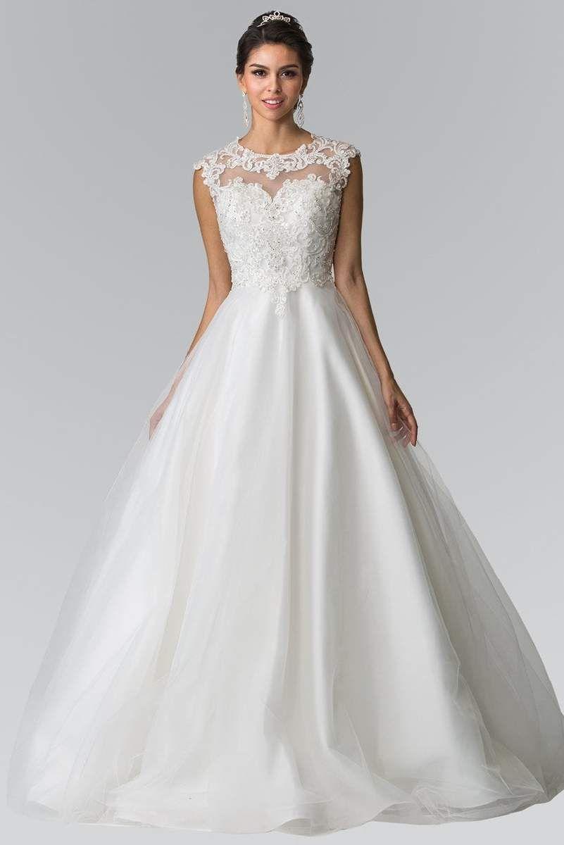 Elizabeth K Bridal   GL20 Lace Embellished Illusion Jewel ...