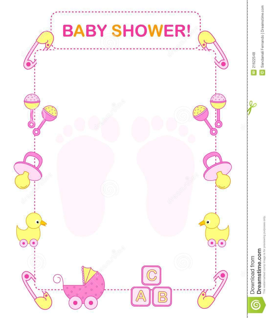 girl baby shower borders free [ 1101 x 1300 Pixel ]
