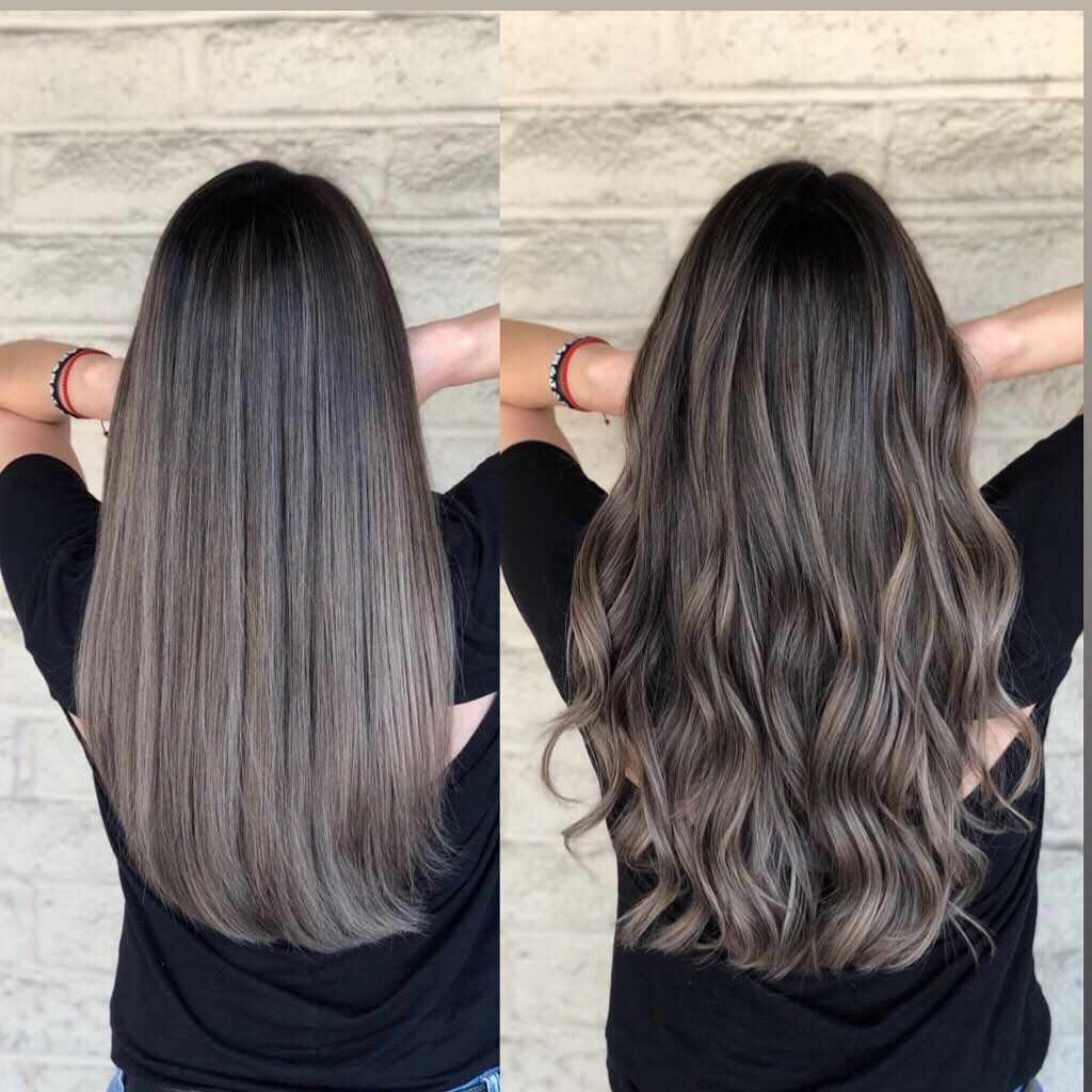 """Los Angeles Hairstylist/color's Instagram post: """"Straight VS Wave . . Ash blonde by @andrewlovescolor Who's next � @trussprofessional #pasadenahairstylist #monrovia #templecity #arcadia…"""""""