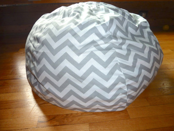 Grey Amp White Chevron Bean Bag Chair Cover Silver Gray