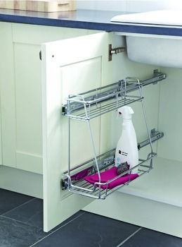 Pull Out Storage Unit Two Tier Chrome Linear Wire Basket For Min Cabinet Width 300 Mm
