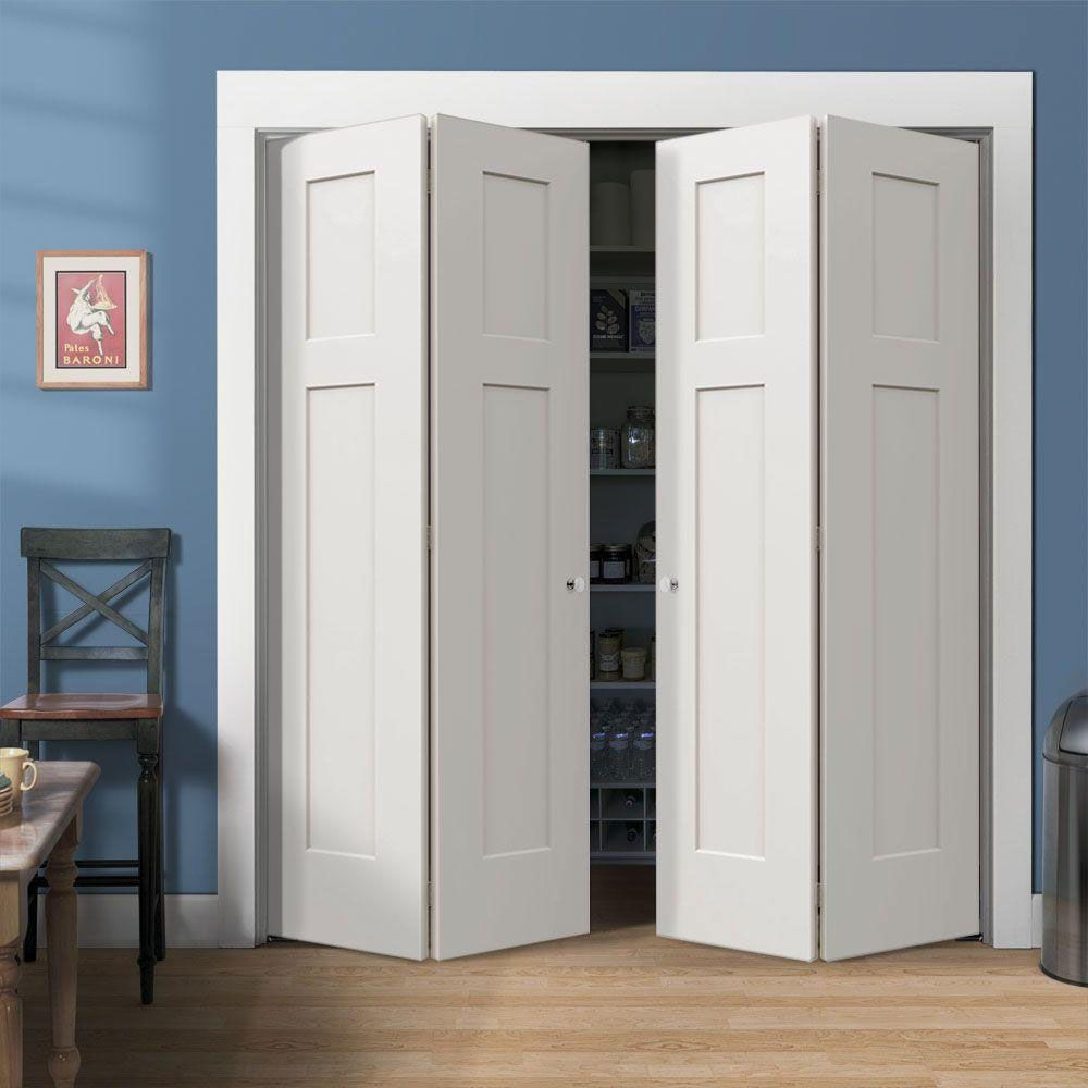 Stylish Bifold Closet Doors: Beautiful White Wood Closet With The Right Bifold  Closet Doors ~