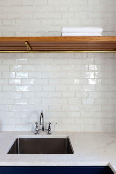 Modern seaside cottage butleru0027s pantry with glossy white glass tile  backsplash and cobalt blue base kitchen - White Glass Backsplash Tiles Roselawnlutheran