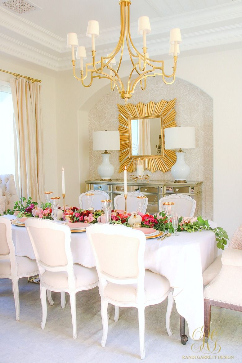 Elegant Pink And Gold Thanksgiving Table Randi Garrett Design Dining Room Table Centerpieces Gold Dining Room Gold Thanksgiving Table