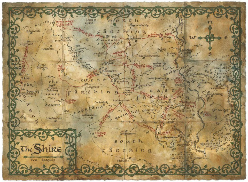 The Shire Map Upon Which Bilbo Has Marked His Favourite Walking