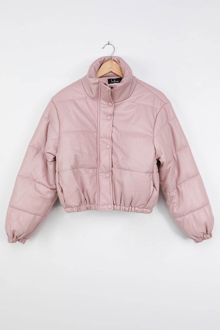 Cool Times Dusty Mauve Vegan Leather Cropped Puffer Jacket Cropped Puffer Jacket Trendy Jackets Puffer Jackets [ 1125 x 750 Pixel ]