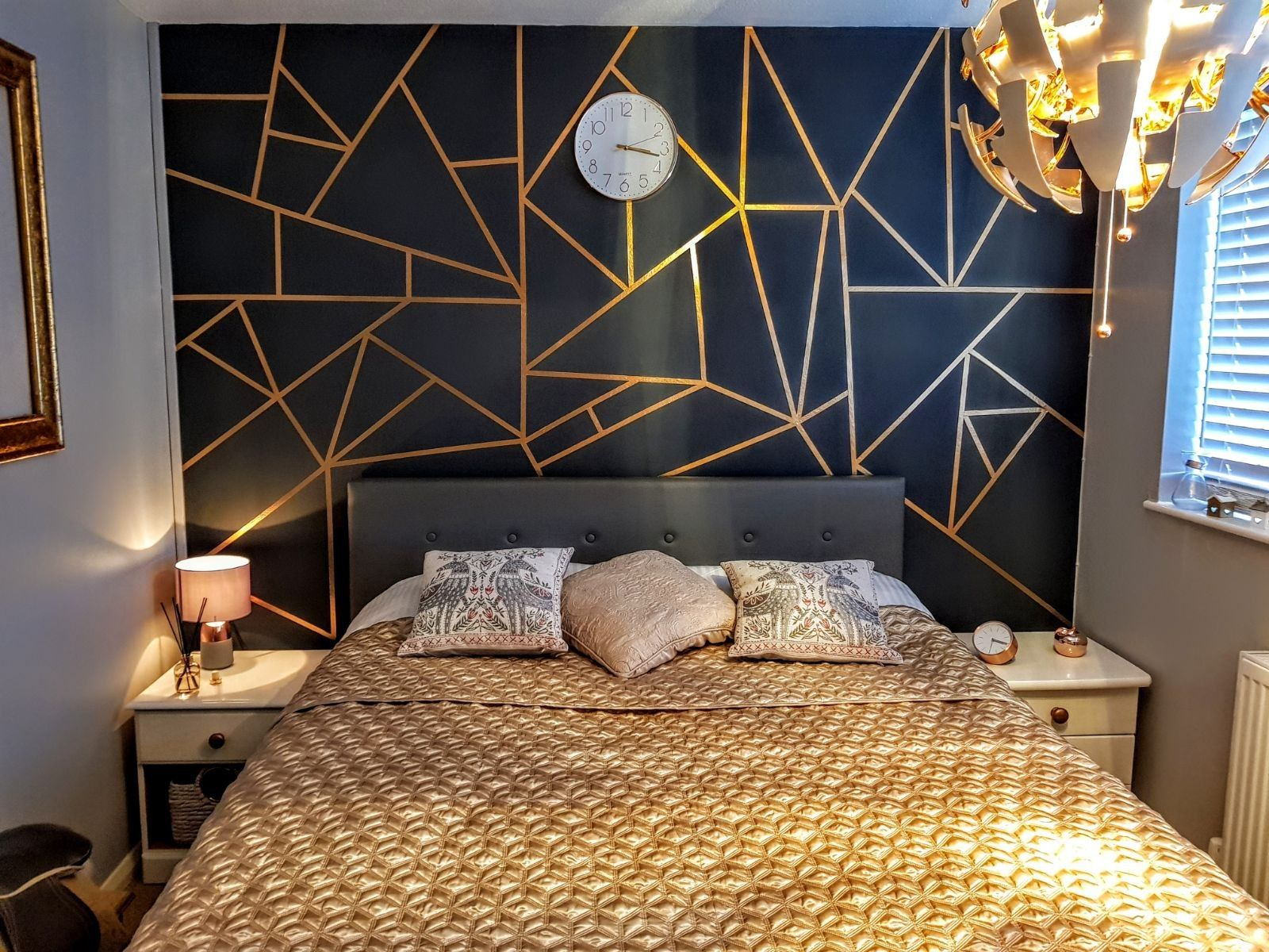 Black And Gold Geometric Wall Wall Decor Bedroom Geometric Wall Paint Bedroom Wall Designs