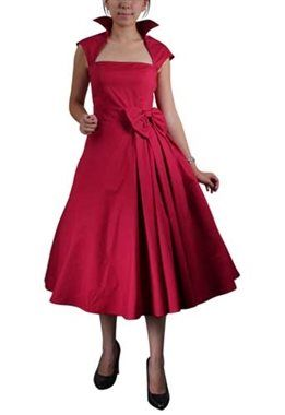 Chic Star Retro Red Pleated Bow Dress