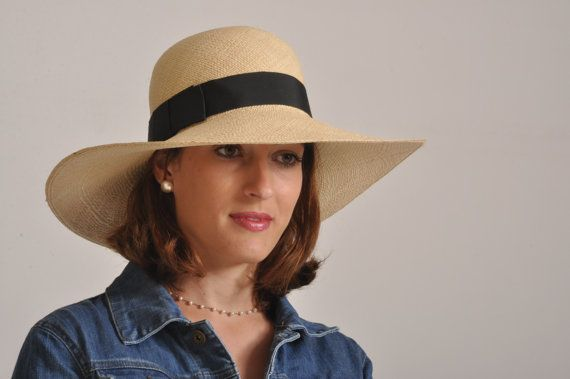 c18e4ef9c1a0ad wide brim summer hat/ ladies Panama hat / straw hat for women UK/ natural  summer hat/ sun protectio