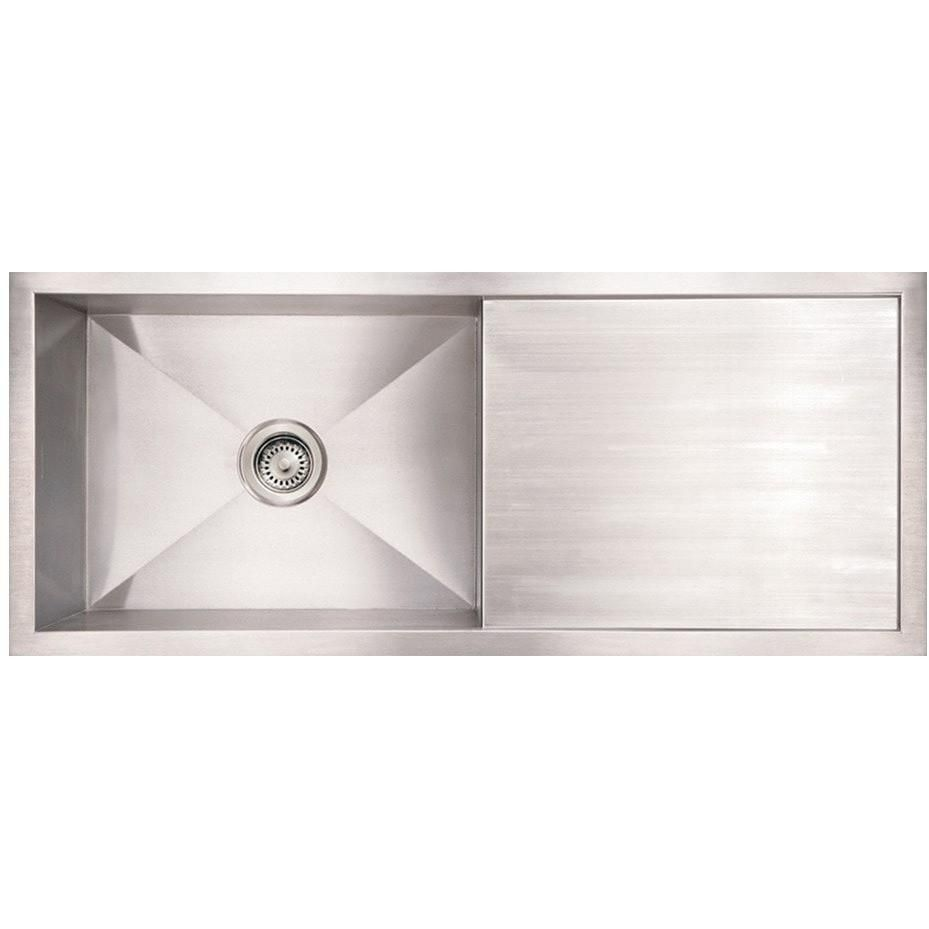 Whitehaus Whncm4019 Brushed Stainless Steel Single Bowl Undermount Kitchen Sink With Drai Undermount Kitchen Sinks Stainless Steel Kitchen Sink Drainboard Sink
