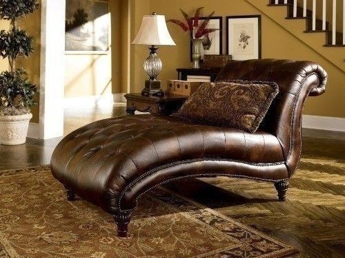 Vintage Chaise Lounge Brown Leather Recliner Wood Indoor
