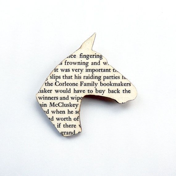 The Godfather  Horse head brooch. Classic book brooches made with original pages. $15.63 USD by houseofismay