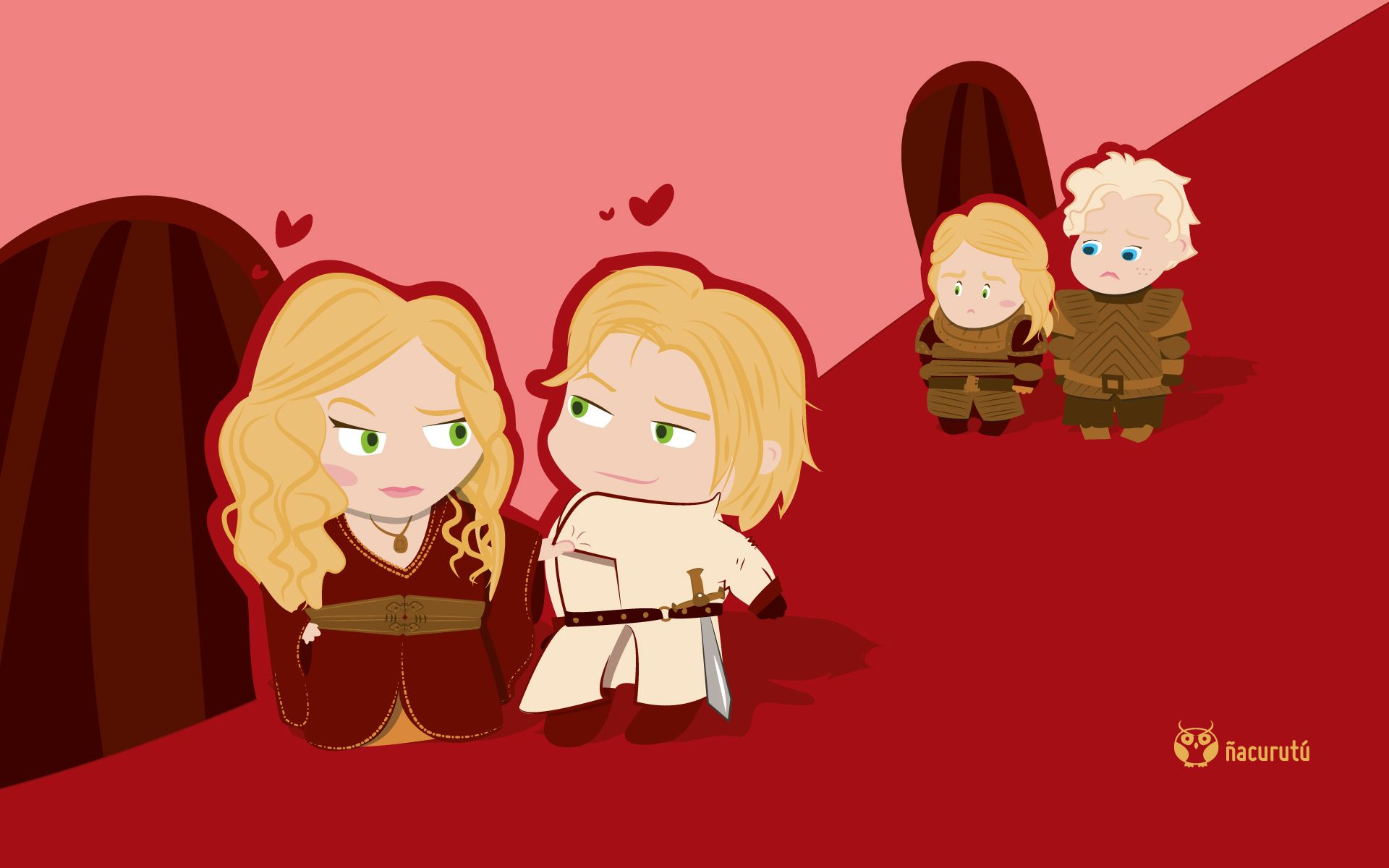 The Lannister Twins Sqwicking Out Brienne And I M Assuming Lansel This Artist Is Awesome Jaime Lannister Cersei Lannister