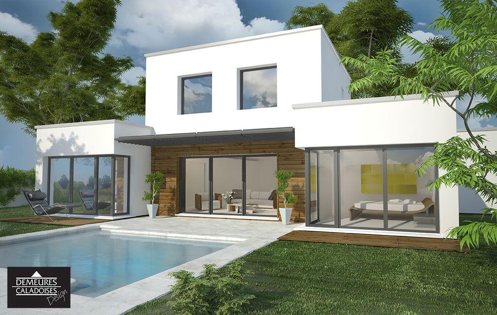 Maison avec toiture terrasse avec une belle vue sur le Maconnais à