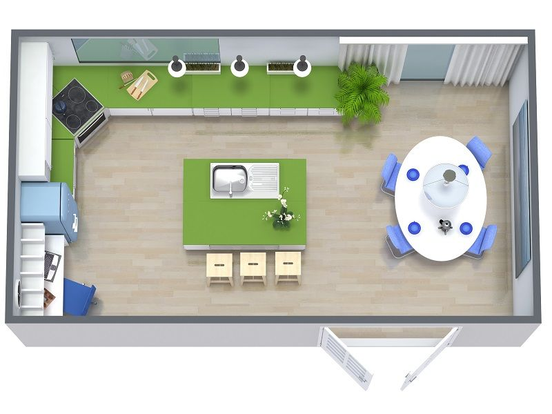 Roomsketcher Kitchen Remodel 3D Floor Plan 800X600  Apartamento Gorgeous How To Design A Kitchen Renovation Review
