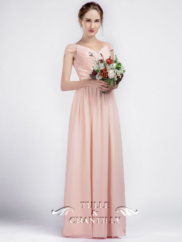 Long V-neck Chiffon Pink Bridesmaid Dresses with Lace Cap Sleeves ...