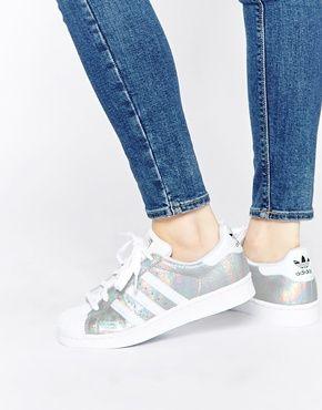adidas originali superstar olografico scarpe bianche.