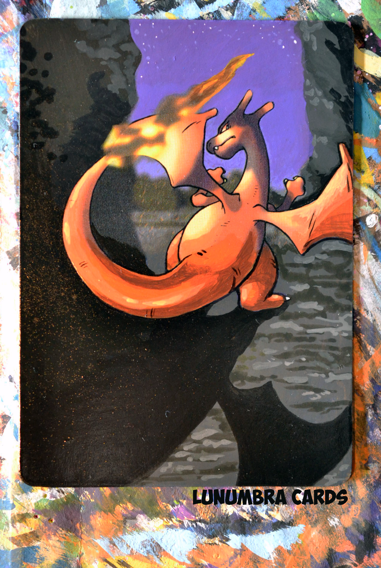 """awesomepaintedcards: """"Dark Charizard One  of the few Charizard cards I've done so far - I have the holo version of this guy and its one of my childhood favorites. Pokémon - Pokemon"""