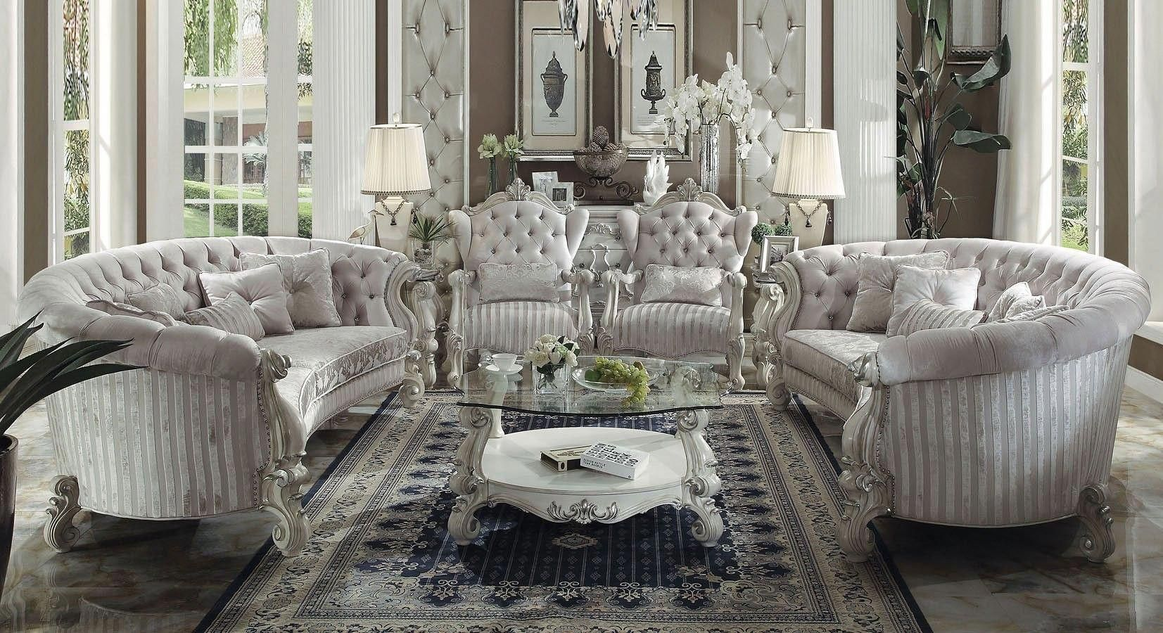 Versailles Crescent Living Room Set Ivory Velvet White Living