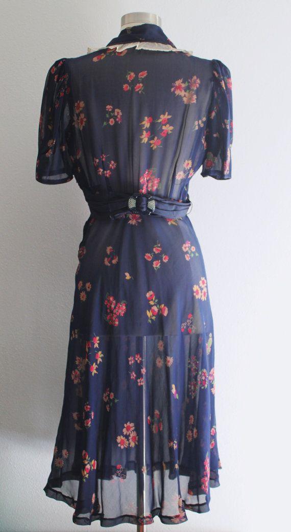 RESERVED 1930s Floral Dress / Vintage 30s 40s Navy Blue Pink Silk ...