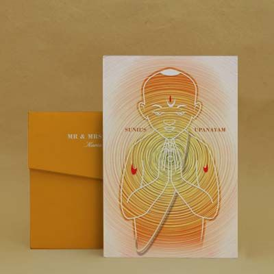Devout Child Saffron Thread Ceremony Invitation Cards Devout Child