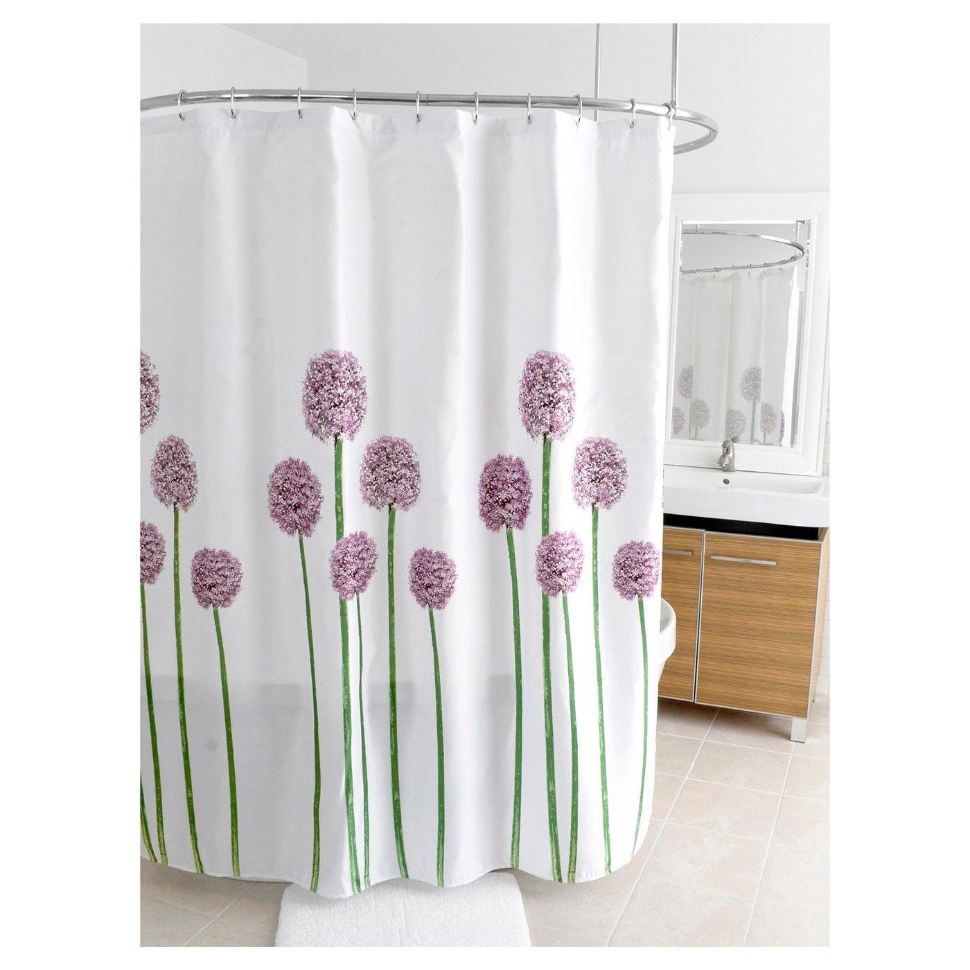 Fabric Floral Shower Curtain - Purple/Green - Splash Home | Floral ...