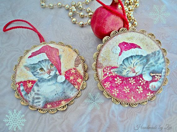 Adornos arbol Navidad decoupage gato por elrinconcitodezivi en Etsy