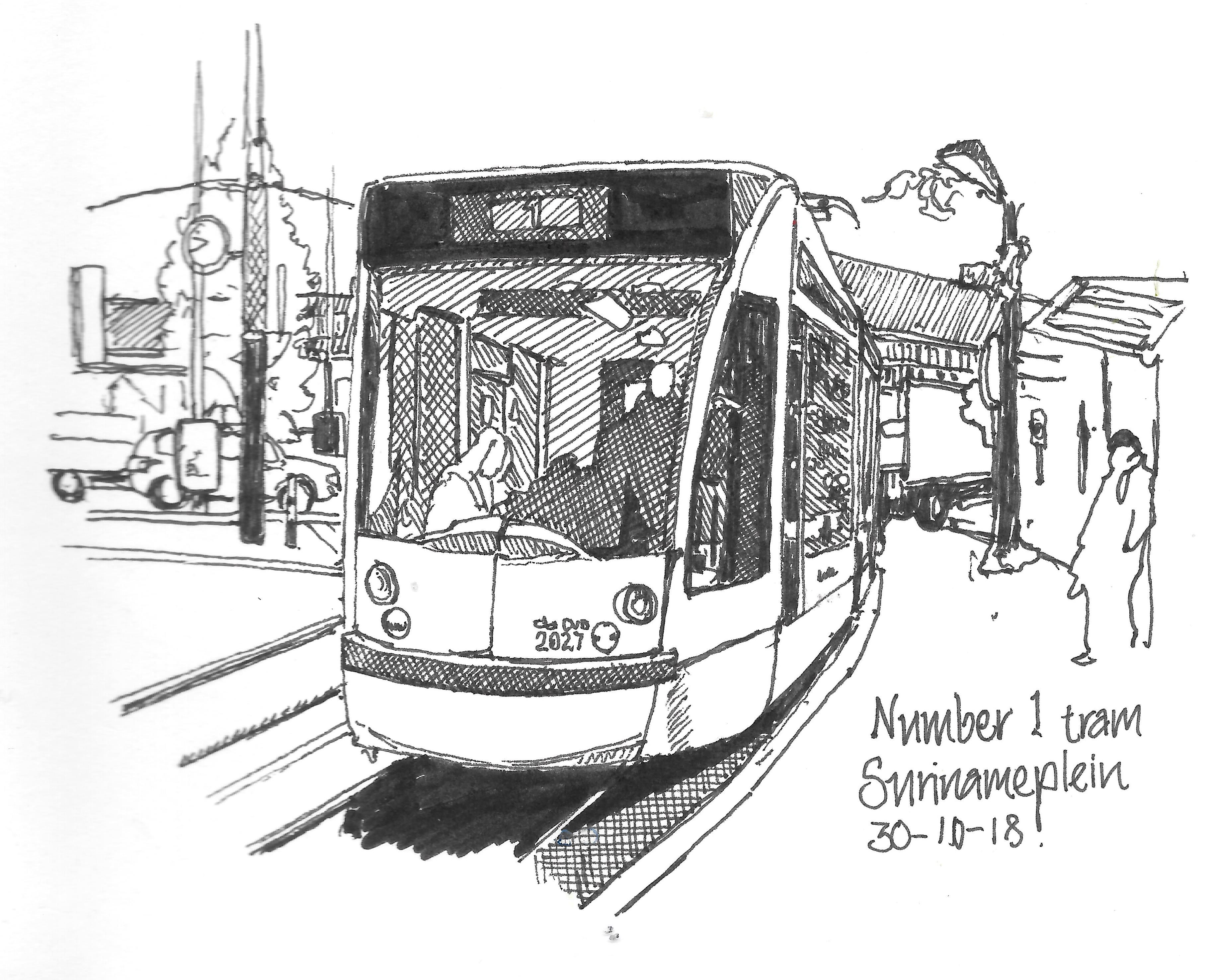 no 1 tram in surinameplein in amsterdam sketched with 0