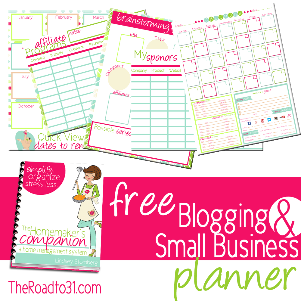 Subscribe and receive a FREE Blogging and Small Business set of organizational printables with The Homemaker's Companion series!