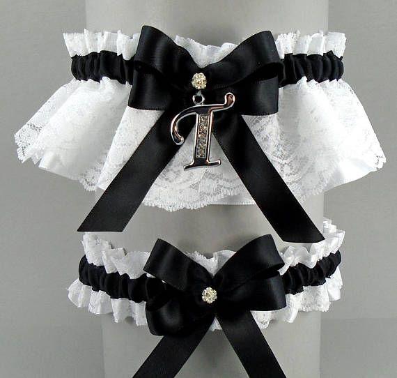 Wedding Garter Set Black On White Or Ivory Lace Satin With