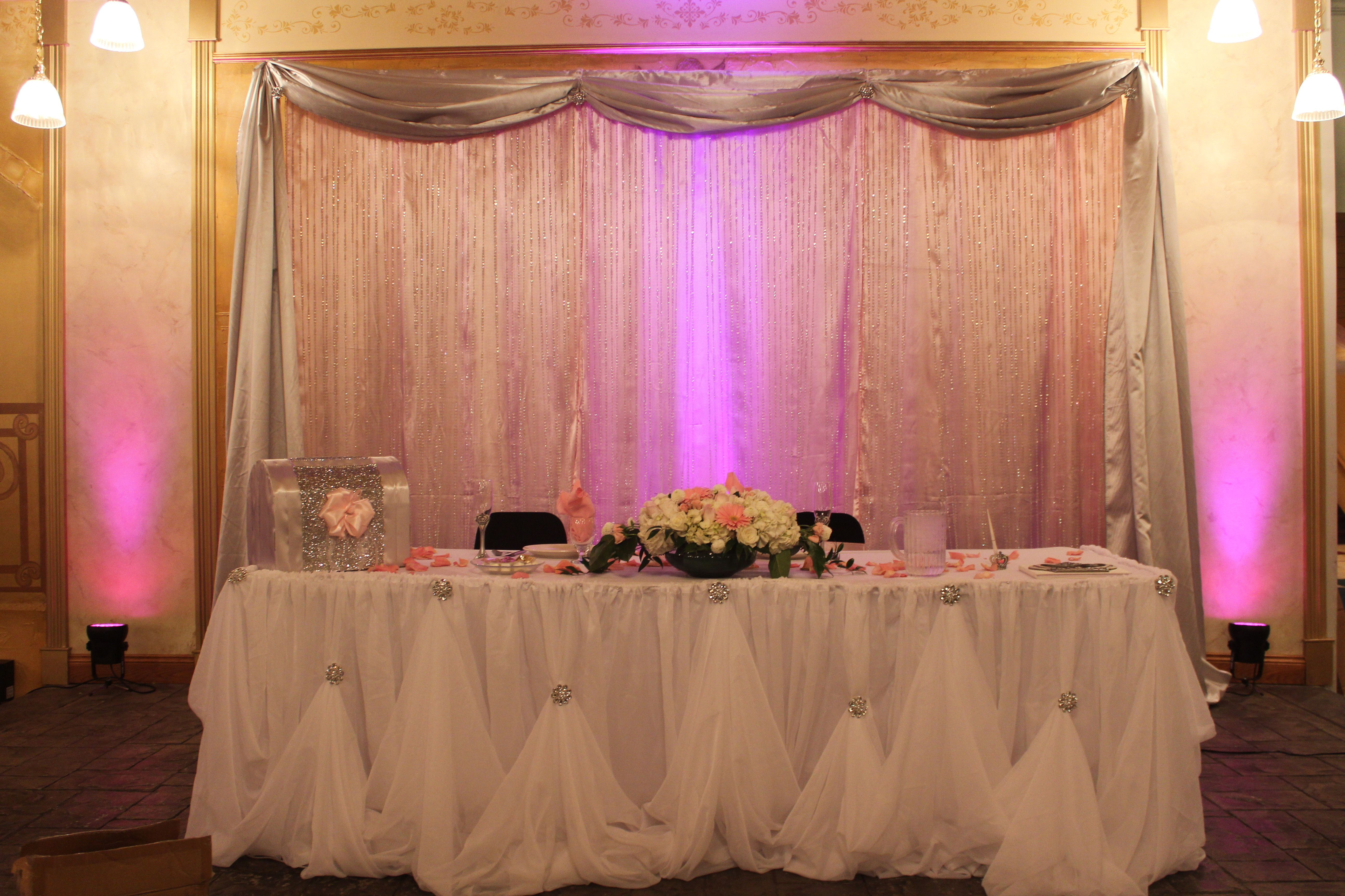 wedding stage decoration pics%0A Pink  Silver  Crystal Wedding Stage Backdrop  White table draping for  sweetheart table