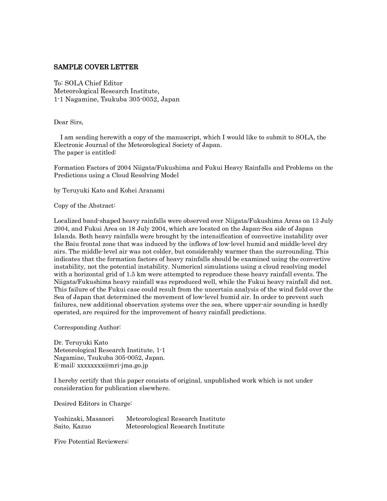27 Cover Letter For Journal Submission Cover Letter For Resume